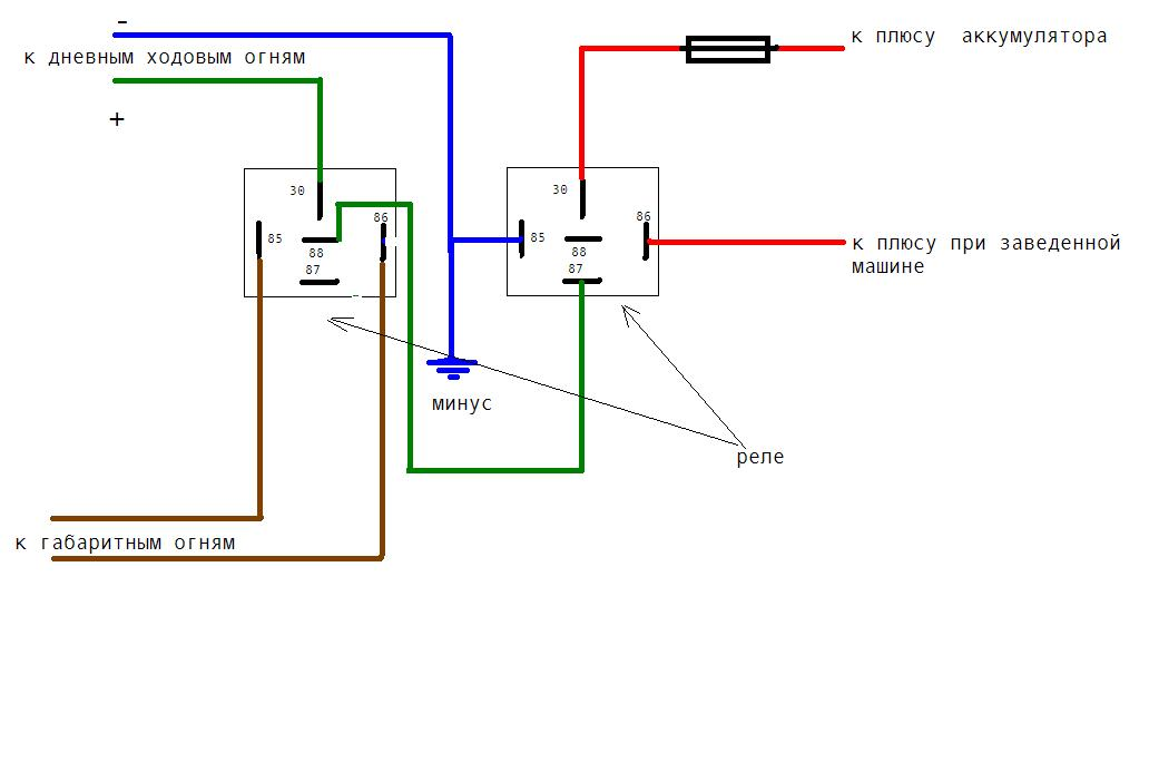 Дневные ходовые огни схема подключения опель